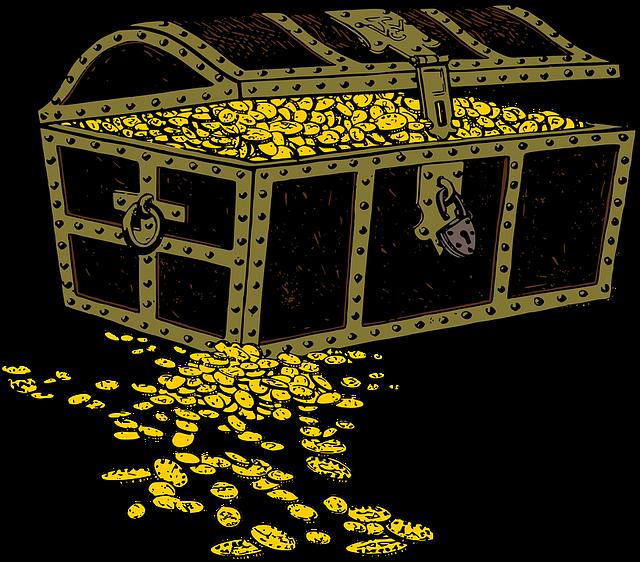 truhla s penězi, ilustrace